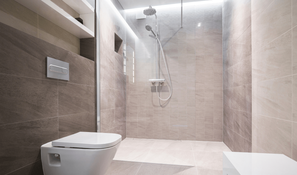 wet room bathroom with walk in shower and toilet
